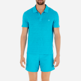 Men Polos Solid - Solid Linen jersey polo, Curacao supp1