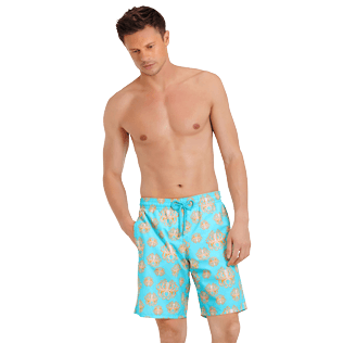 Men Long classic Printed - Men Swimwear Long Poulpes, Lagoon frontworn