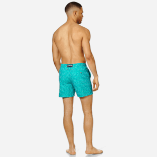 Men 017 Embroidered - Men Swim Trunks Embroidered Armor Turtles - Limited Edition, Veronese green backworn