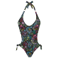 Women Trikini Printed - Women Swimsuit Trikini Evening Birds, Black front