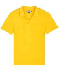 Men Others Solid - Men Linen Jersey Polo Shirt Solid, Curry front