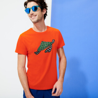 Men Others Printed - Men Cotton T-Shirt Turtles Swim, Medlar frontworn