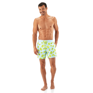 Men Classic / Moorea Printed - Flocked Turtle Print Swim Shorts, Frosted blue frontworn