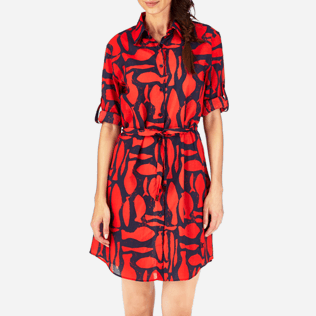 Women Dresses Printed - Silex Fishes Long dress shirt, Poppy red supp1