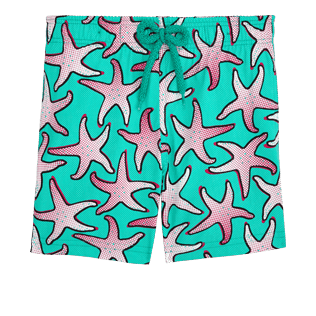 Boys Others Printed - Boys Stretch Swimwear Starfish Art, Veronese green front