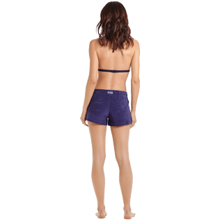 Donna Altri Unita - Shorts donna in spugna tinta unita, Midnight blue backworn