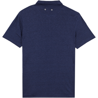 Men Others Solid - Men Linen Jersey Polo Shirt Solid, Navy back