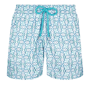 Men Embroidered Embroidered - Men Swim Trunks Embroidered Data Turtles - Limited Edition, Aloe front