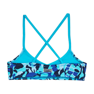 Girls Tops Printed - Camouflage Turtles Bandeau Top, Azure back