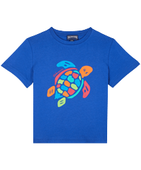 Boys Others Printed - Boys Organic Cotton T-shirt Tortue Multicolore, Sea blue front