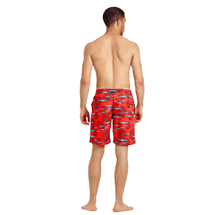 Men Long classic Printed - Men Swimwear Long Coral & Fish, Medicis red backworn