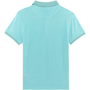 Men Others Solid - Men Terry Cloth Polo Shirt Solid, Aquamarine back