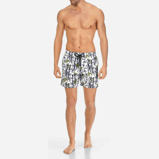 Men Classic Printed - Men Swimtrunks Bamboo Song, White frontworn