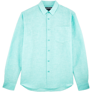 Men Others Solid - Men Cotton Linen Shirt Solid, Veronese green front