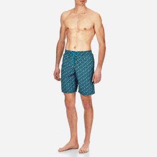 Men Long classic Printed - Men Long Swimtrunks Micro ronde des tortues, Spray frontworn