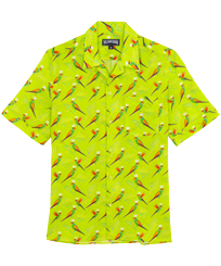 Men Others Printed - Men Bowling Shirt Cotton and Linen Multicolore Parrots, Lemongrass front