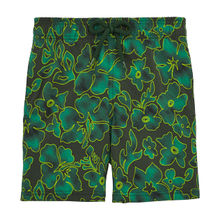 Boys Classic / Moorea Printed - Natural Flowers Superflex Swim Shorts, Olive front