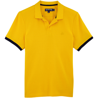 Men Polos Solid - Cotton pique polo, Turmeric front