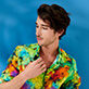 Autros Estampado - Unisex Cotton Voile Light Shirt Holi Party, Batik azul supp6