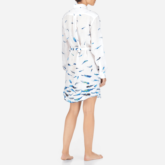 Vilebrequin - Robe chemise liquette longue Blue Breath - 4