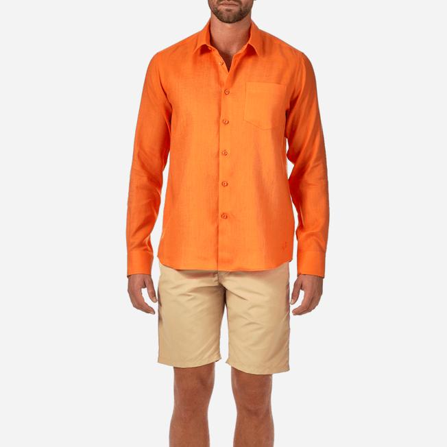 Vilebrequin - Camisa de lino liso para hombre - 5