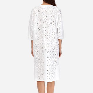 Women Others Embroidered - Women Short Cotton Tunic Dress Eyelet Embroidery, White supp2