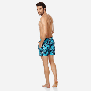Homme CLASSIQUE STRETCH Imprimé - Maillot de Bain Homme Stretch Turtles Flowers, Bleu marine backworn