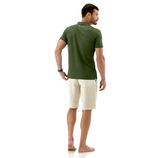 Men Polos Solid - Solid Linen jersey polo, Olive backworn