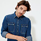 Men Others Solid - Men Long Sleeve Western Denim Shirt, Med denim w2 frontworn