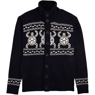 Men Sweaters Printed - Italian merino/cashmere sweater , Navy front
