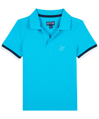 Boys Others Solid - Boys Cotton Pique Polo Shirt Solid, Azure front