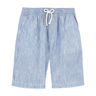 Boys Shorts Graphic - Micro-stripped Linen bermuda shorts, Sky blue front