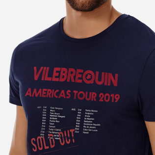 Men Others Printed - Men Cotton T-Shirt Vilebrequin Tour, Navy supp1