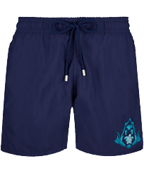 Men Classic Embroidered - Men Swim Trunks Pranayama Placed embroidery, Sapphire front