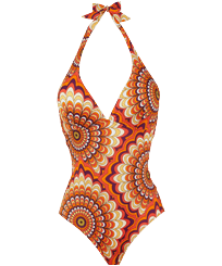 Women One piece Printed - Women Halter One-piece Swimsuit 1975 Rosaces, Apricot front