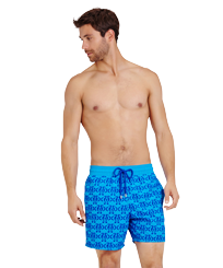 Men Classic Printed - Men Swim Trunks Flocked Hippocampes, Swimming pool frontworn