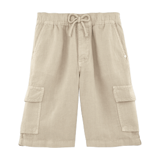 Boys Others Solid - Linen bermuda shorts, Hessian front