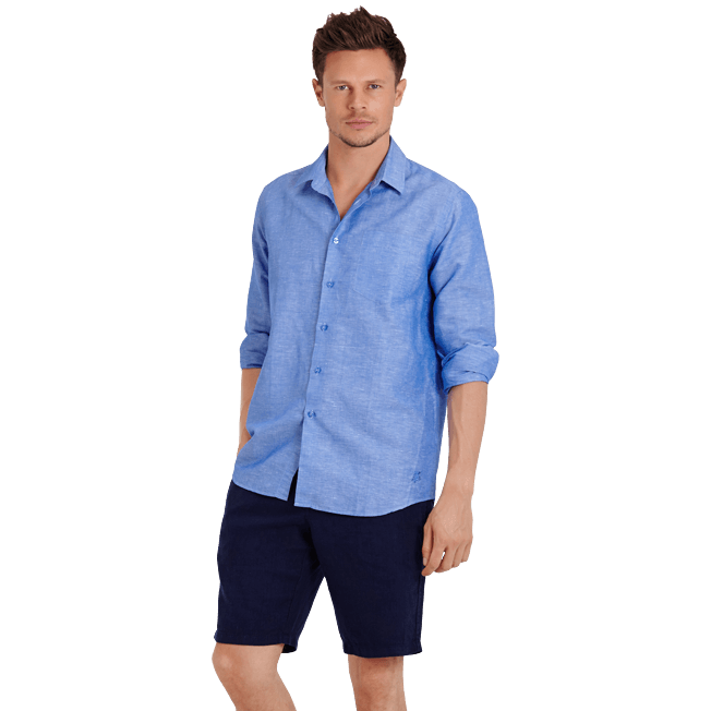 Vilebrequin - Men Cotton Linen Shirt Solid - 7