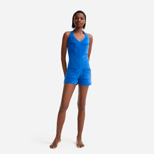 Women Others Solid - Women terry Playsuit - Vilebrequin x JCC+ - Limited Edition, Sea blue frontworn