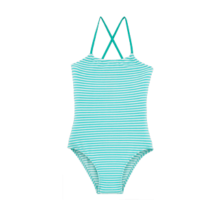 Girls One Piece Graphic - Striped Terry One piece, Lagoon front