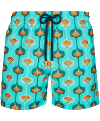 Men Classic Embroidered - Men Swim Trunks Embroidered Shell 70' - Limited Edition, Lazulii blue front