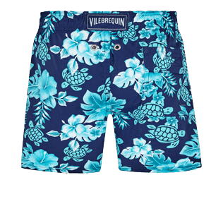 Boys Others Printed - Boys Swim Trunks Stretch Turtles Flowers, Navy back