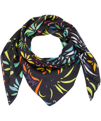Others Printed - Silk Scarf Evening Birds, Black front