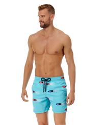 Men 017 Embroidered - Men Embroidered Swim Trunks Monaco - Limited Edition, Tropezian blue frontworn
