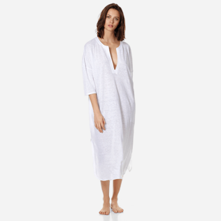 Women Others Solid - Women Long linen jersey Tunic Dress Solid, White frontworn