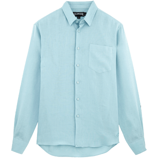 Men Others Solid - Men Linen Shirt Solid, Frosted blue front