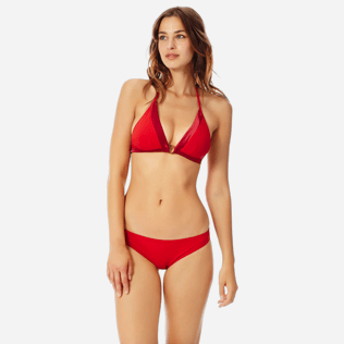 Women Halter Solid - Women halter bikini Top Tuxedo, Red polish frontworn