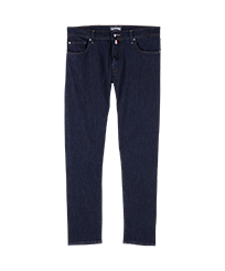 Men Others Solid - Men 5-Pocket Carrot fit Pants, Dark denim w1 front