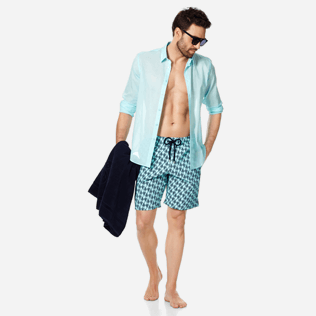 Homme CLASSIQUE LONG Imprimé - Maillot de Bain Homme Long Stretch Armor Turtles, Acqua supp2