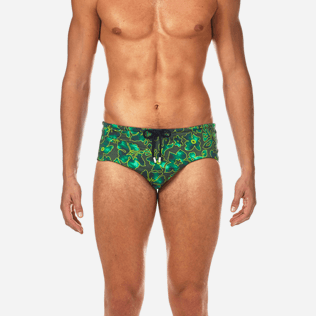 Men Short Printed - Natural Flowers Swim briefs, Olive supp1